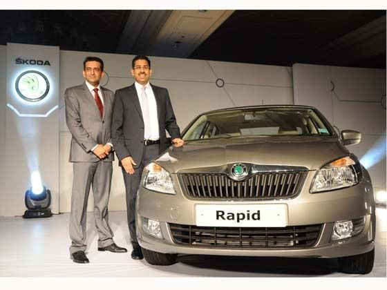Left to Right- Mr. Tarun Jha, Marketing Head, SKODA Auto India and  Mr Ashutosh Dixit, Sr. General Manager, Sales & Marketing, SKODA Auto India  launch the SKODA Rapid in Delhi