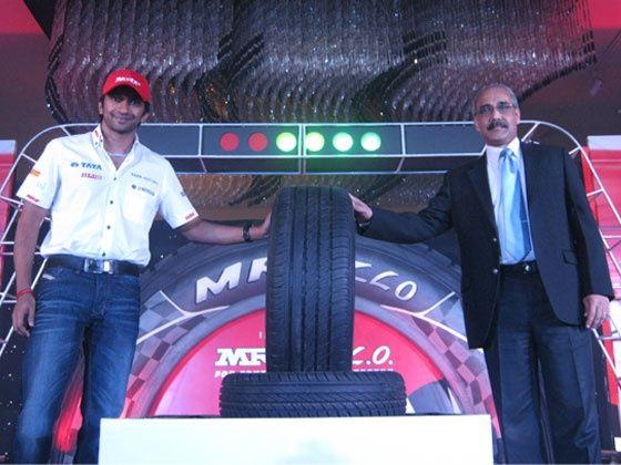 Narain Karthikeyan at the launch of the MRF ZLO