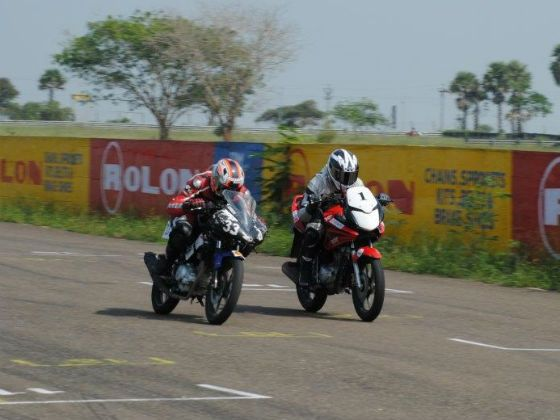 Riders in action on track