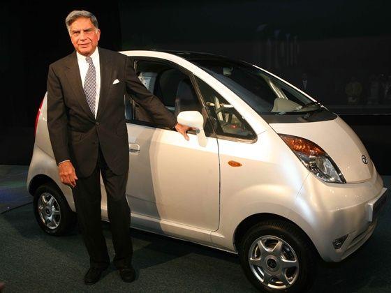 Ratan Tata with the Tata Nano