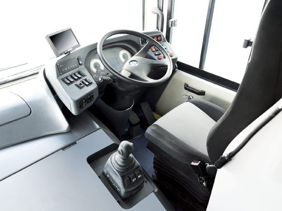 Much attention has gone into enhancing driver efficiency by way of more comfort, easy controls and reduction of fatigue inducing mechanisms in the Jan Bus. This is the driver's office and it seems a nice place to be unlike other more agricultural layout