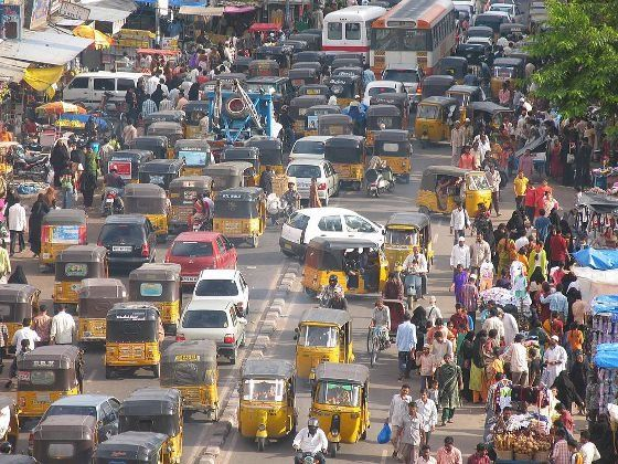 Driving in city traffic india
