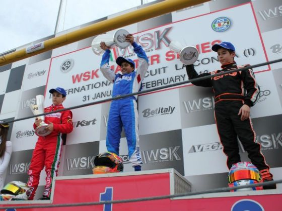 Kush Maini on the WSK podium