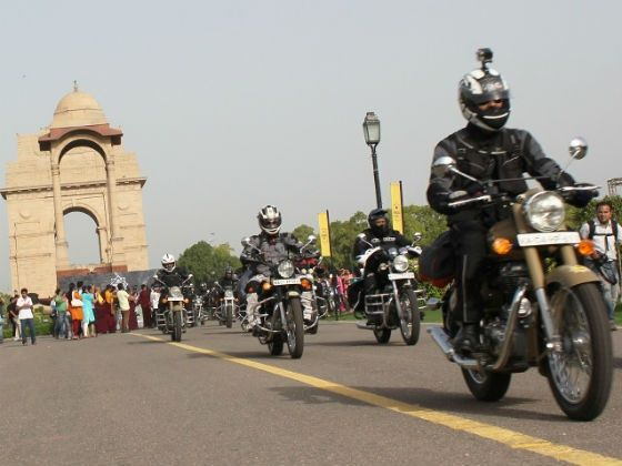 Riders on their way to the first re-group point after flag off from India Gate