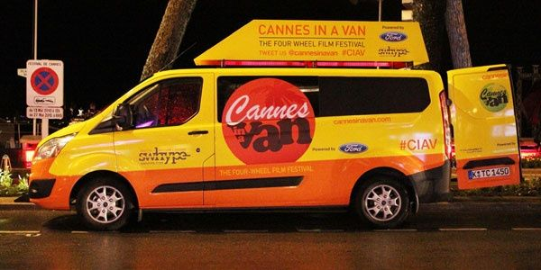 Ford custom van screening indie films at Cannes