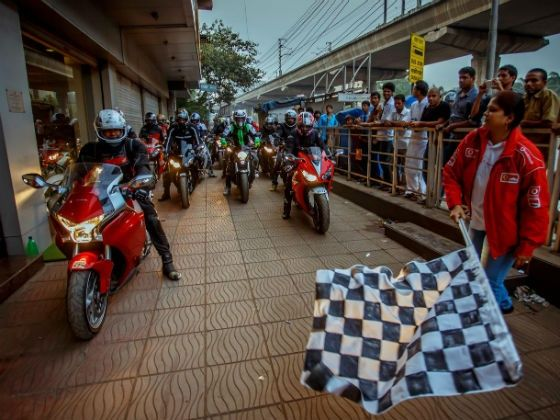 Event being flagged off from the Honda showroom in Mumbai