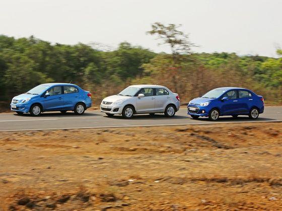 Honda Amaze, Swift Dzire and Xcent in action