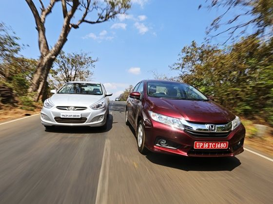 Honda City and Hyundai Verna front action