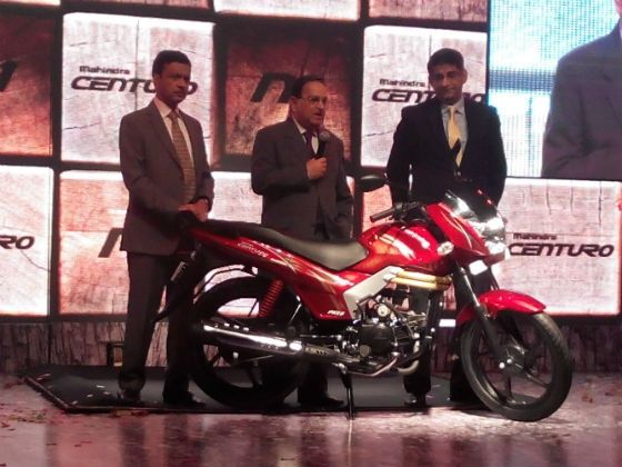 Mahindra officials pose with the Centuro N1