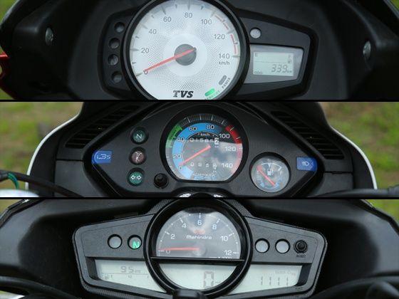 TVS Star City+ vs Hero Splendor iSmart vs Mahindra Centuro instrument console