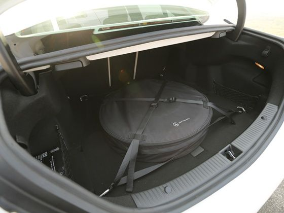 Boot space of the new 2015 Mercedes-Benz C-Class compromised by space saver spare wheel