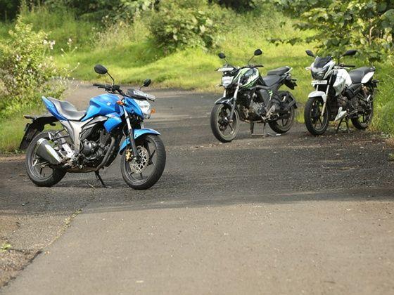 Suzuki Gixxer vs Yamaha FZ-S FI vs TVS Apache RTR 180 static shot