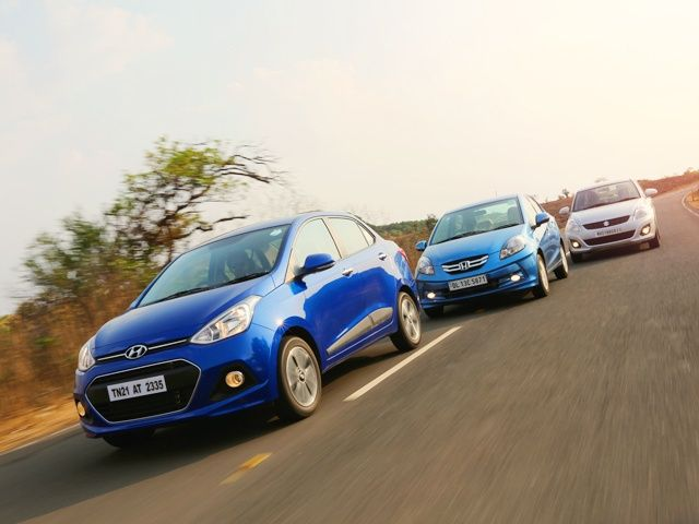 Xcent vs Dzire vs Amaze diesel comparison group shot