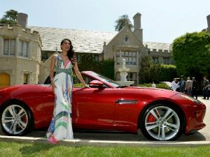 raquel pomplun with the Jaguar F-type